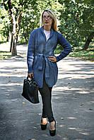 Кардиган с поясом 42-48 джинс, фото 1