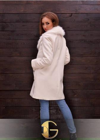 Длинное пальто с меховым воротником, фото 2