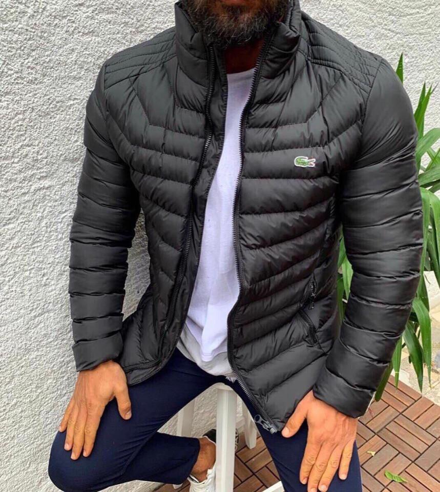 Мужская куртка Lacoste, темно-серого цвета.ТОП КАЧЕСТВО!!! Реплика