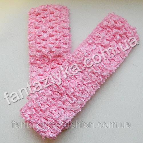 Повязка для волос ажурная узкая 4см, розовая