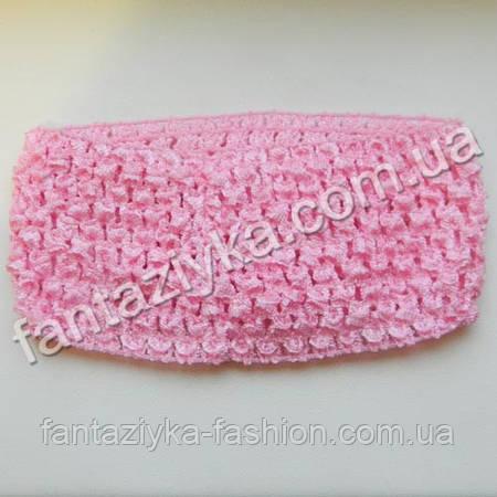 Ажурная повязка для волос широкая 7см, розовая