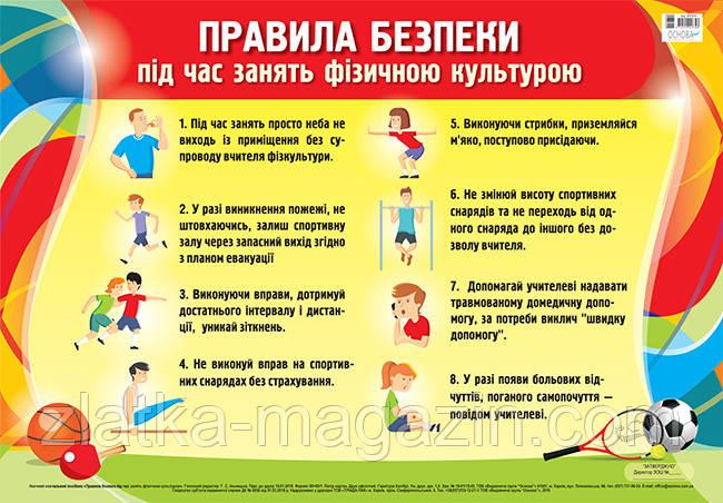 Плакат. Правила безпеки під час занять фізичною культурою