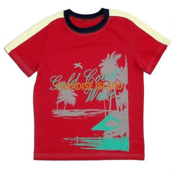 """Футболка для мальчика """"Пляж"""", рост 122, цвет: красный"""