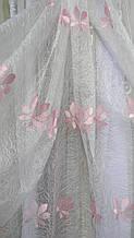 Тюль Елиза органза с розовым декором