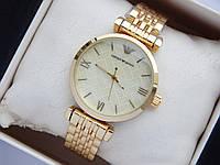 Наручные часы Emporio Armani небольшого размера, золото, золотистый циферблат