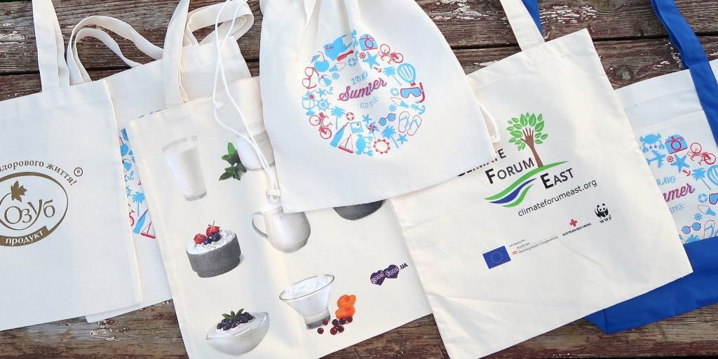Несколько вариантов промо сумок и рюкзачков из двунитки (неотбеленный хлопок)