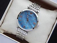 Жіночі наручні годинники Emporio Armani невеликого розміру, срібло, синій циферблат, фото 1