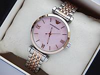 Наручные часы Emporio Armani небольшого размера, комбинированные, розовый циферблат
