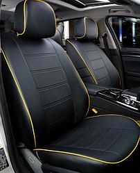 Чехлы на сиденья Тойота Ярис (Toyota Yaris) (модельные, экокожа, отдельный подголовник)