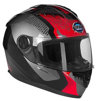 Мотошлем GEON 968 Новый интеграл Stealth Black/Red - Черно-красный