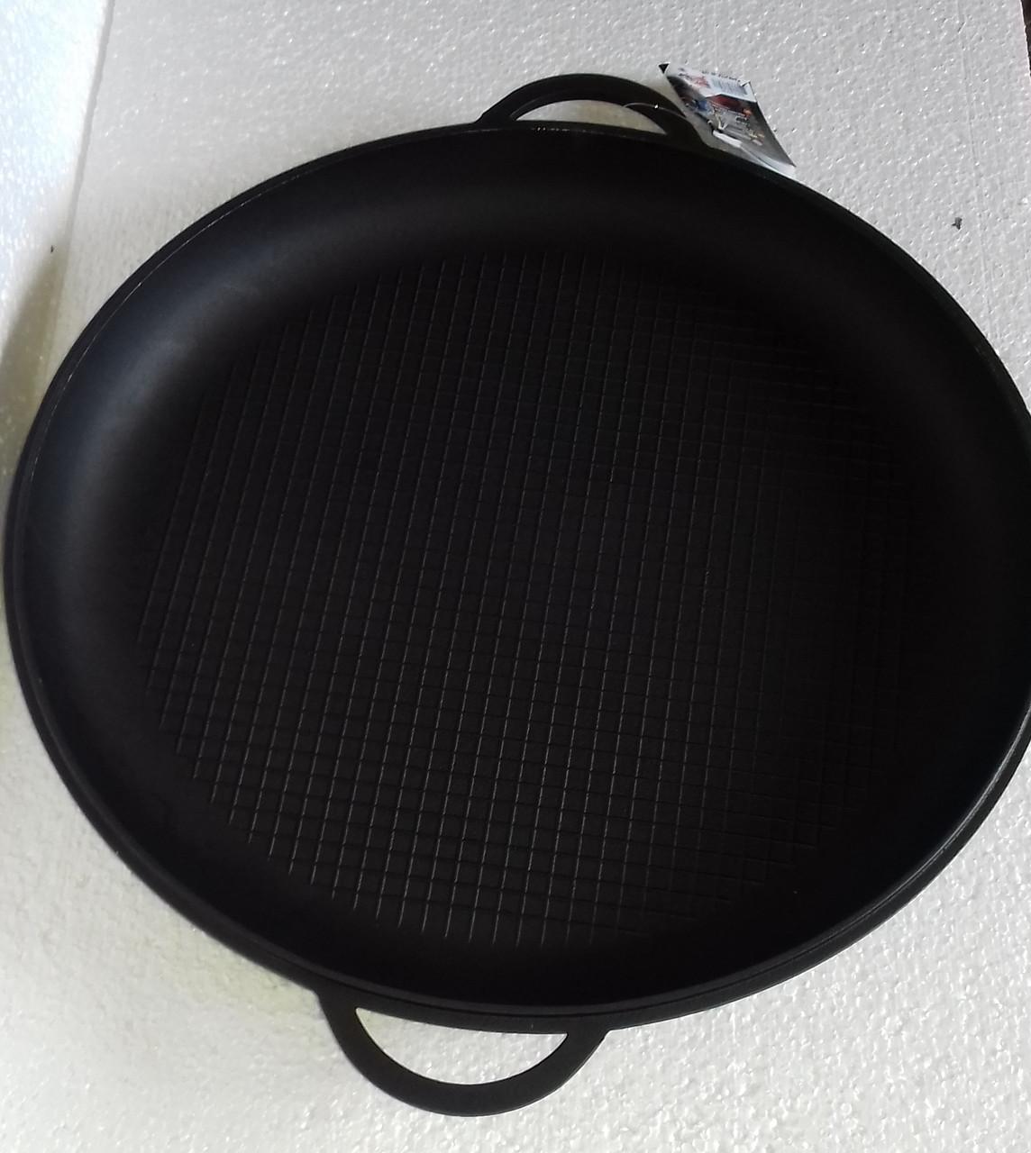 Крышка-сковорода чугунная, ТМ Термо. Диаметр 340мм, рифленое дно