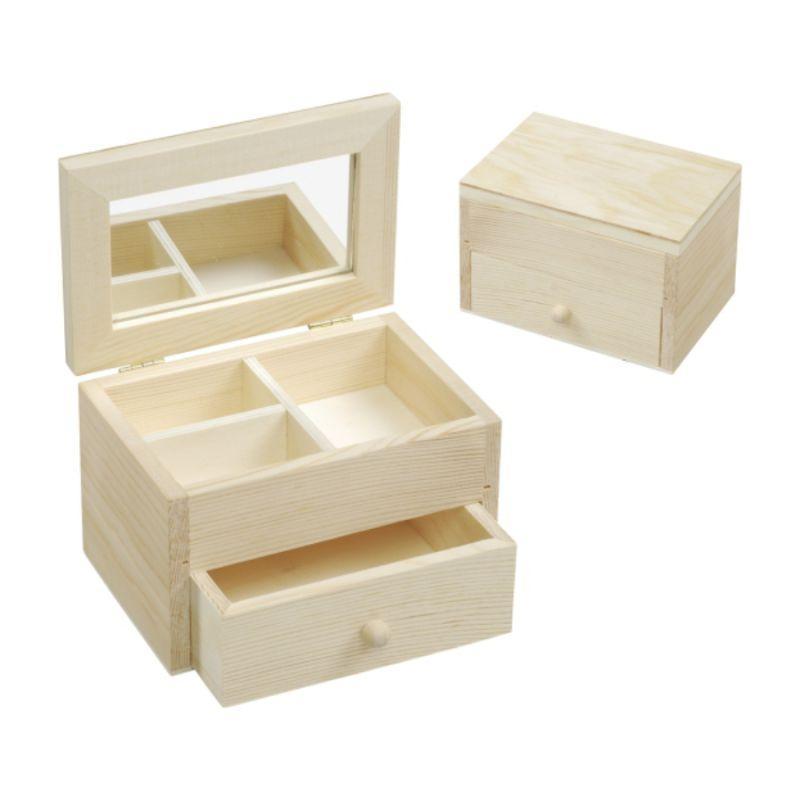 Ящик для бижутерии, дерево, с навесной крышкой и зеркалом, 13 * 8,7 см, KnorrPrandell
