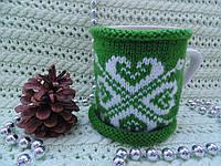 Новогоднее украшение чашки,грелка для чашки,вязанное украшение чашки, фото 1