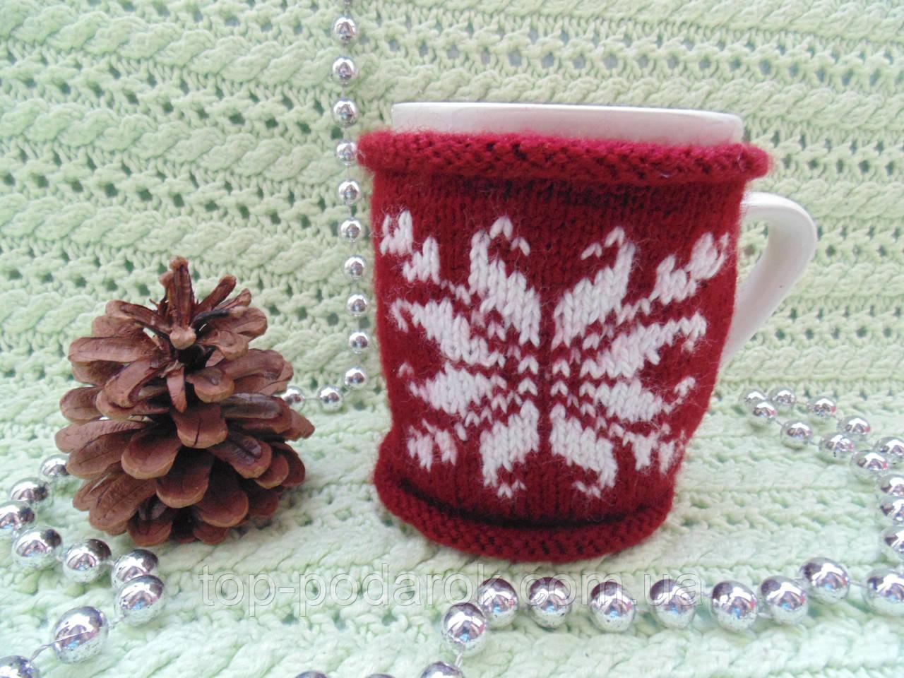 Новогоднее украшение чашки,грелка для чашки,вязанное украшение чашки