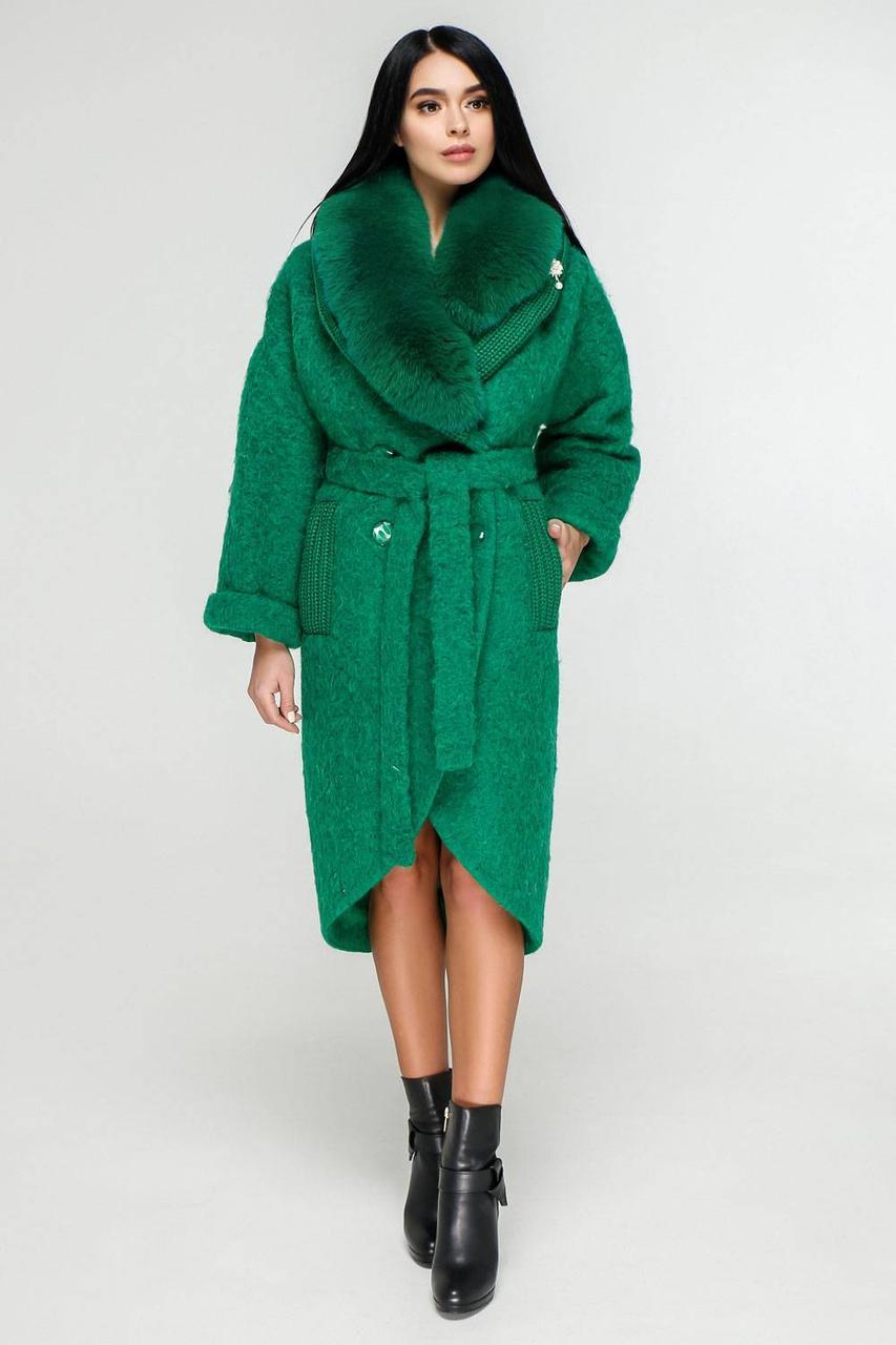 Шикарне зимове пальто з опушкою
