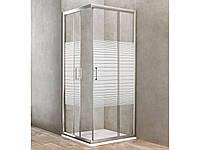 Душевая кабина Dusel А-513, 80х80х190, двери раздвижные, стекло silk screen (полоска)