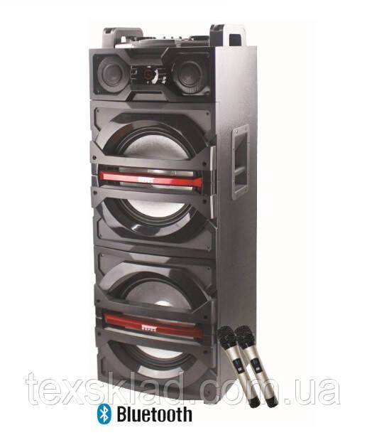 Активная колонка с двумя радиомикрофонами KVG F-244 (300W/600W USB/FM/bluetooth)