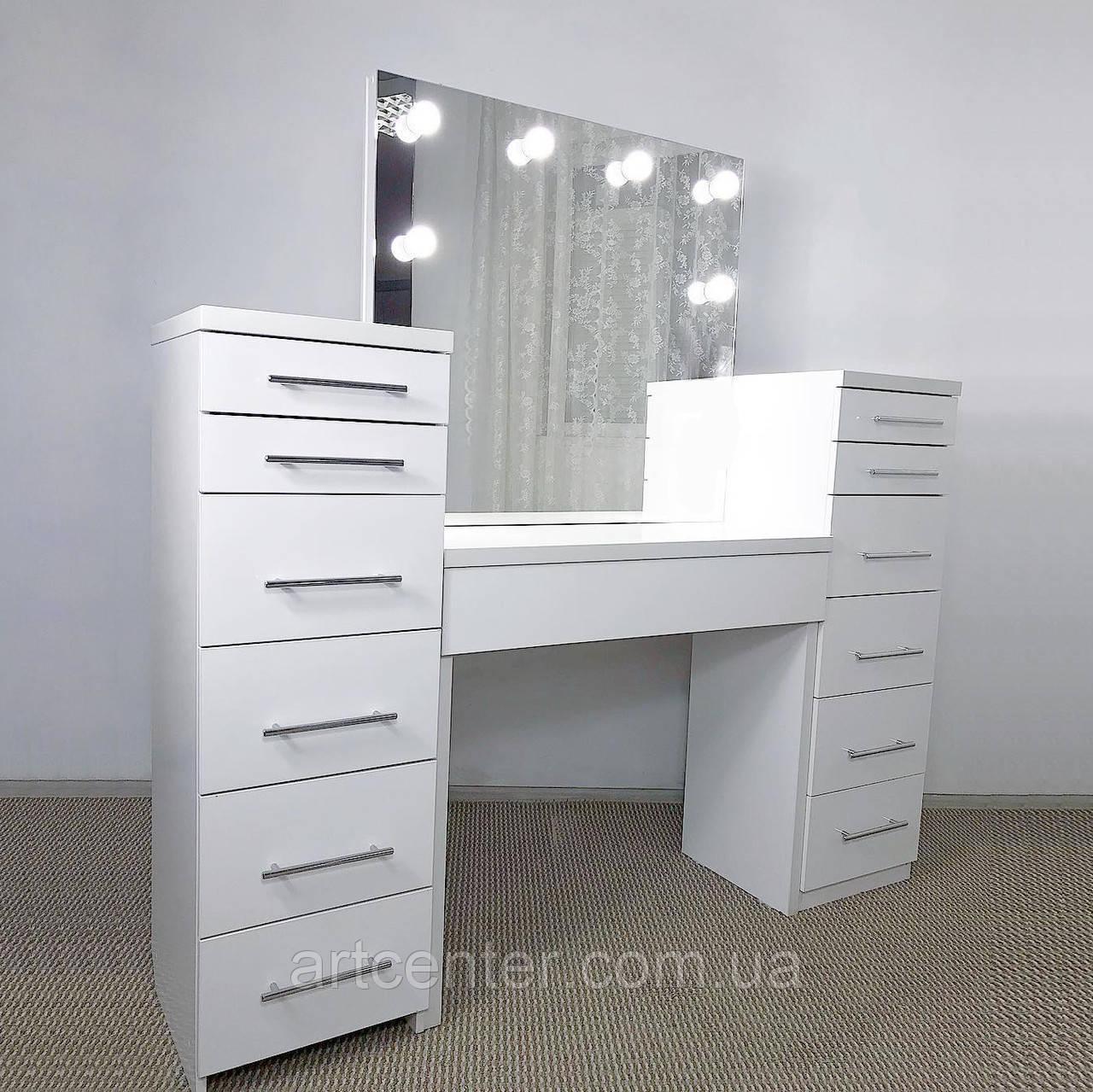 Стол визажиста с 2 тумбами, гримерный стол, туалетный стол с гримерным зеркалом