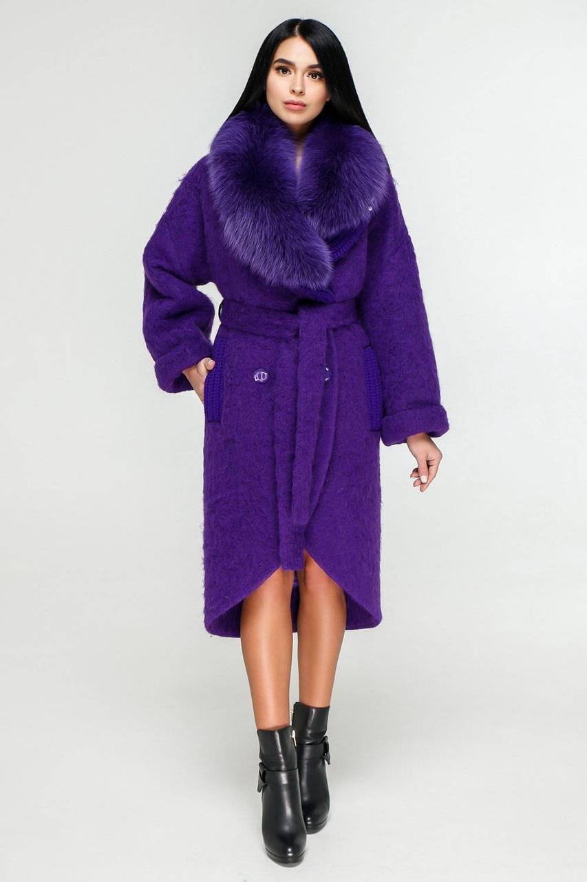 Шикарное зимнее теплое пальто с опушкой