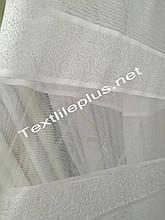 Тюль белая сетка с полосками