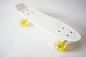 Пенни борд 55 см. (Penny board) со светящимися колесами Белый