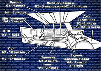 Схема установки виброизоляции автомобиля