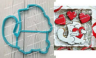 Пластиковая вырубка Кот с сердцем, высота 12см