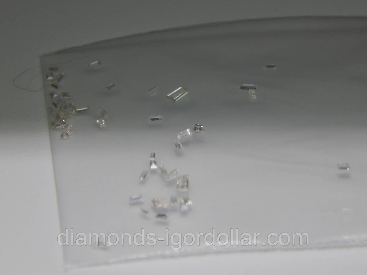 Бриллиант  натуральный природный белый 10 шт огранки Багет длинна от 1,5мм/0,01кт до 1,7мм/0,015кт