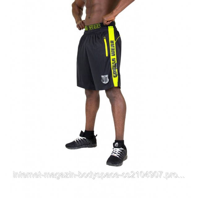 Gorilla Wear, Шорты спортивные Shelby Shorts - Black/Neon Lime
