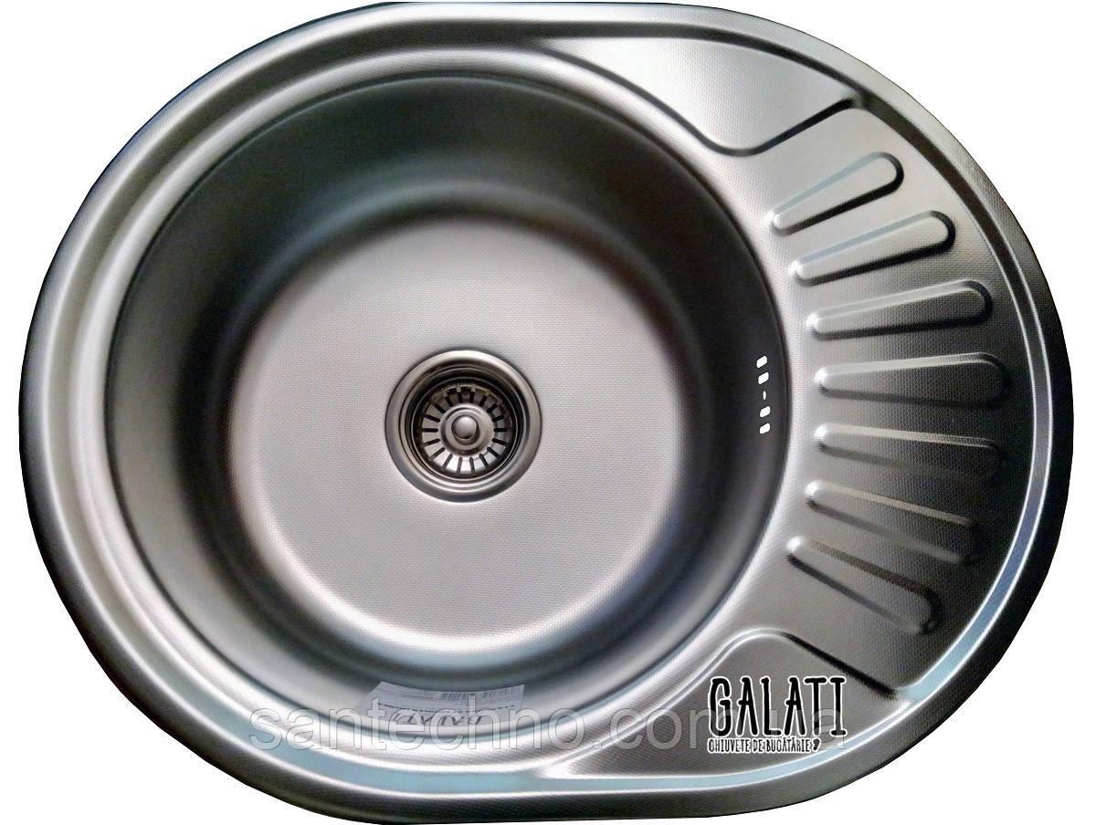 Овальная кухонная мойка из нержавеющей стали с крылом  Galati Taleyta Textura (Еко)