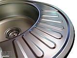 Овальная кухонная мойка из нержавеющей стали с крылом  Galati Taleyta Textura (Еко), фото 4
