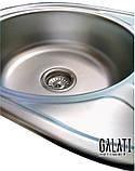 Овальная кухонная мойка из нержавеющей стали с крылом  Galati Taleyta Textura (Еко), фото 5