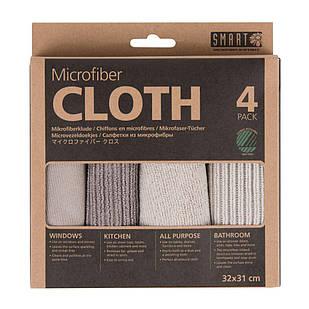 """Комплект салфеток из микрофибры """"Ультра"""" SMART Microfiber System бежевый/серый"""