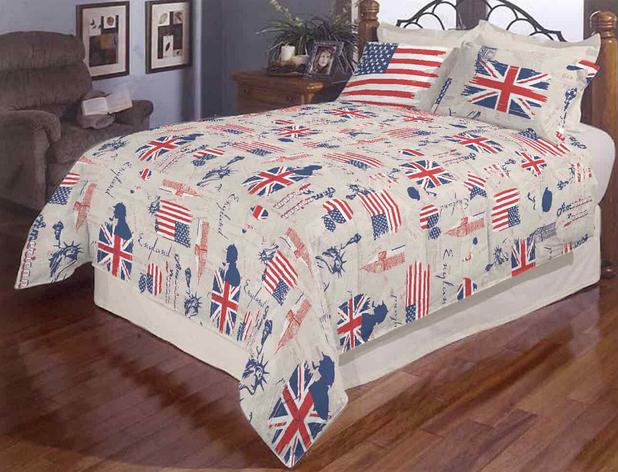 """Полуторний комплект постільної білизни """"Прапор Америки сірий"""", фото 2"""