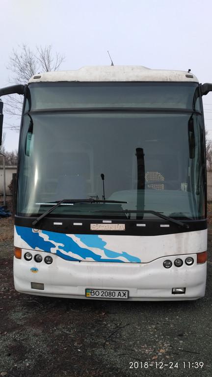 Производств и замена лобового стекла триплекс на автобусе Scania Obrador K113   в Никополе (Украина). 54