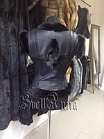 Пошив жилетки из кожаной куртки заказчика с отделкой из черной норки.