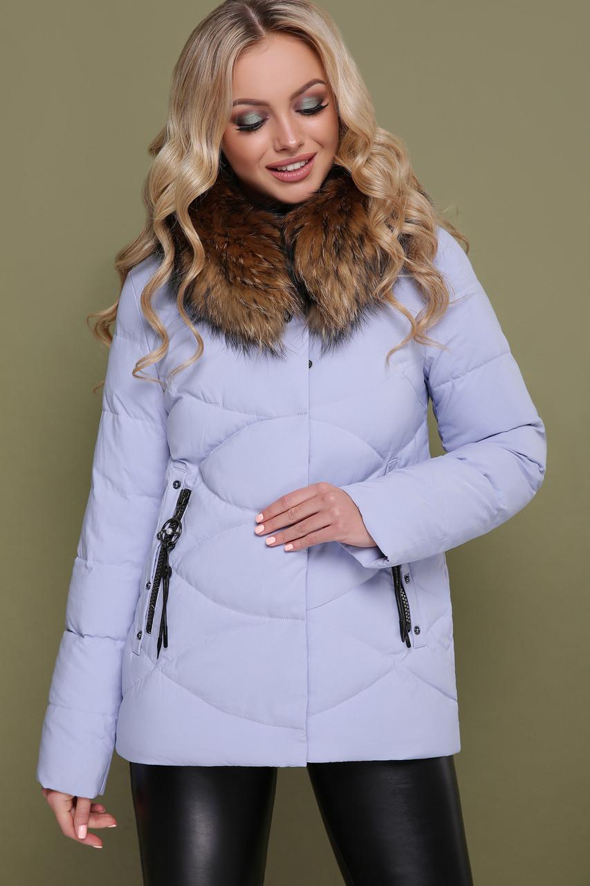 Женская короткая зимняя куртка с мехом сиреневая