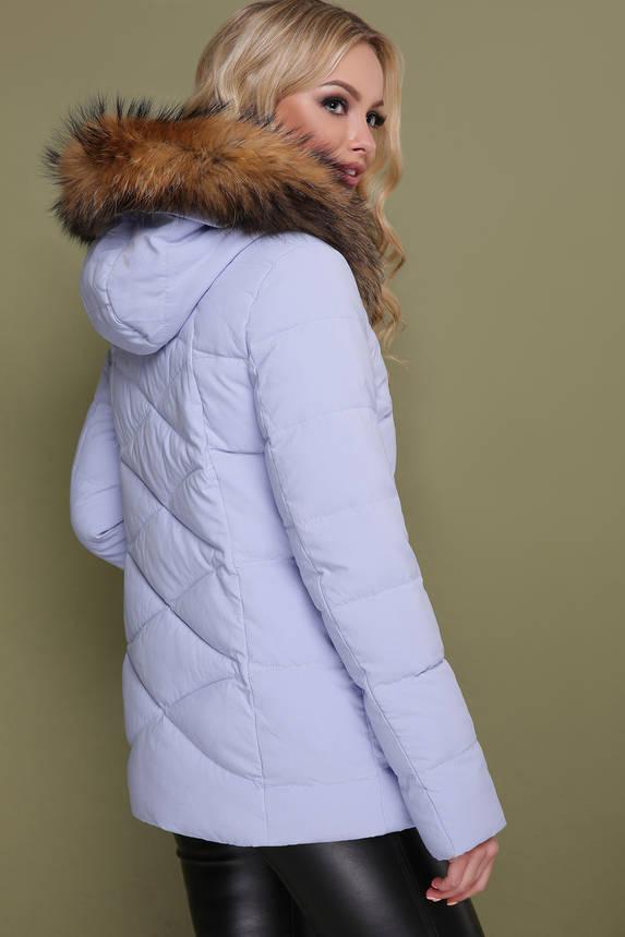 Женская короткая зимняя куртка с мехом сиреневая, фото 2