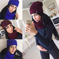 Набор женский шарф-хомут и шапка ВТ870, фото 1