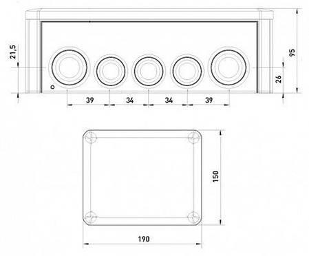 Коробка распределительная Т250 с кабельными вводами, 240х190х95, ІР66, ультрафиолетостойкая, ударостойкий, фото 2