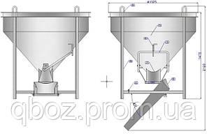 Бункер, емкость, бадья для бетона и смесей -Туфля конусная БП- 1,0  куб., фото 3