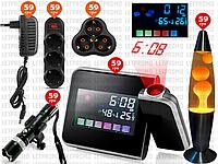 6пр. Часы метеостанция с проектором времени ds-8190 в наборе (удлинитель, тройник,лава-лампа,б/п, bl-8628)