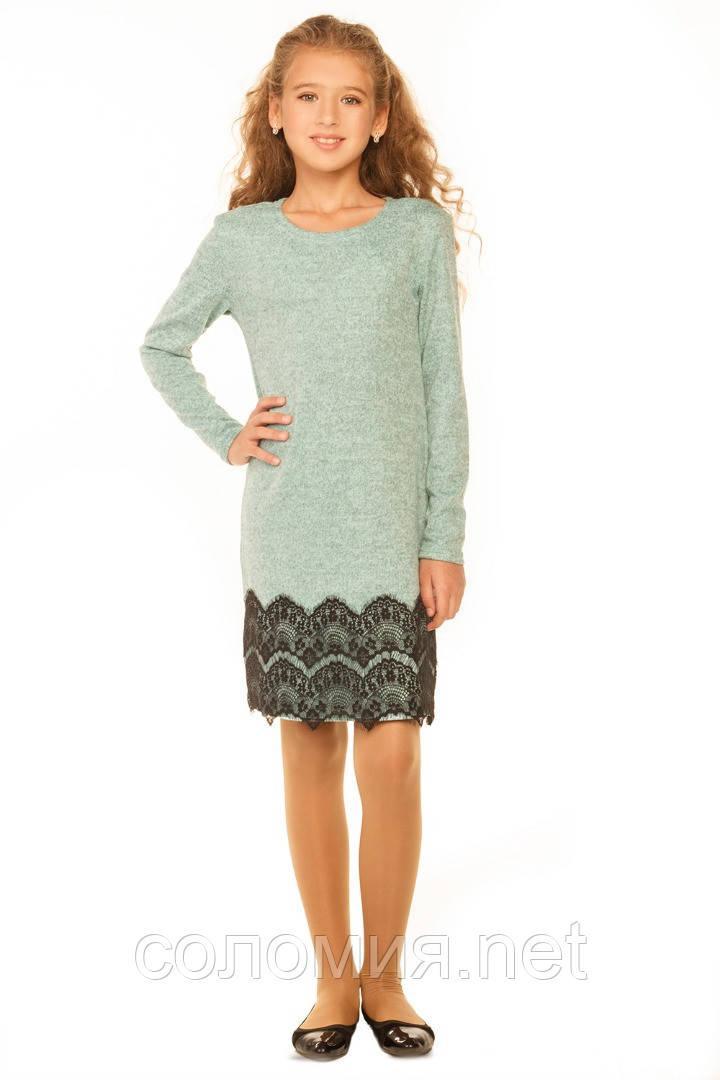 Стильное платье с кружевом для девочки 140-152р
