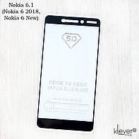 Защитное стекло Full Glue для Nokia 6.1 (Nokia 6 2018) (black) (клеится всей поверхностью (5D))
