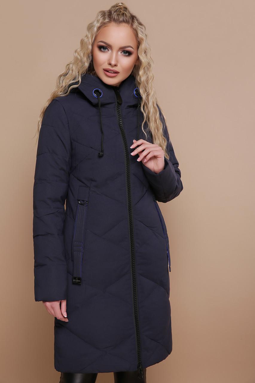 Куртка женская зимняя с капюшоном синяя