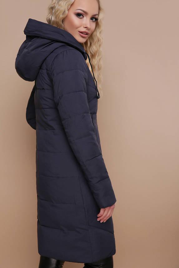 Куртка женская зимняя с капюшоном синяя, фото 2