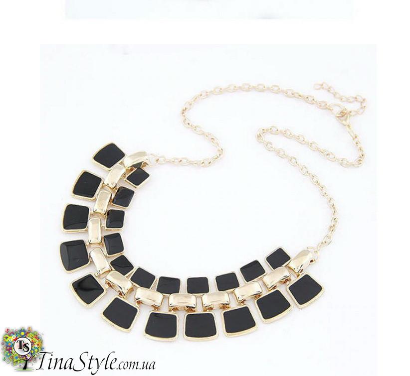 Кольэ ожерелье черное Эмаль квадратное квадраты богемное Винтажное черный камни кристаллы Шикарное колье