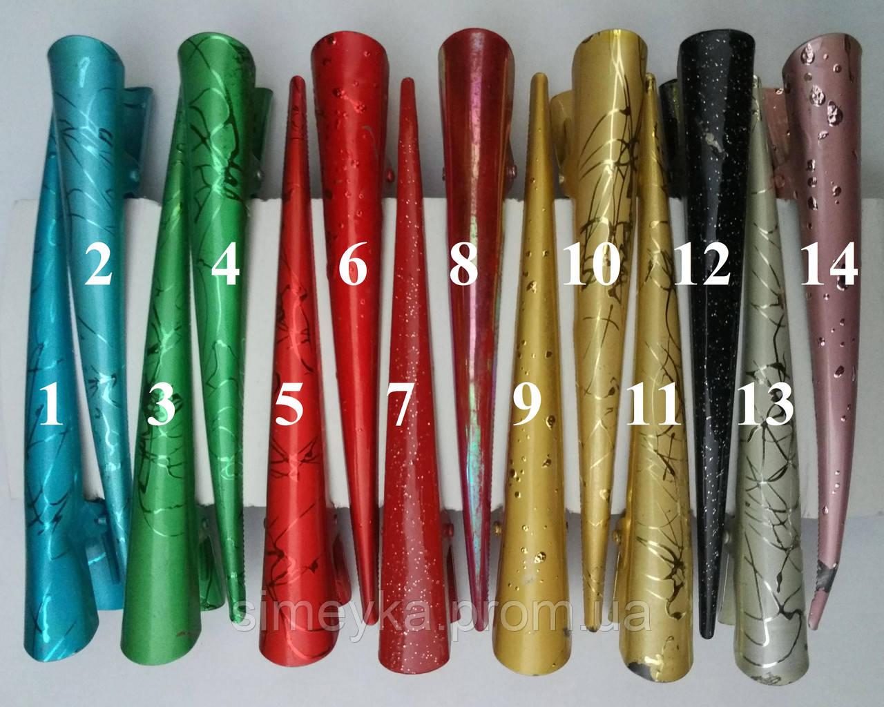 """Уцінка!!! Зажим стріла """"уточка"""" великий кольоровий глянсовий 12,5 см, 1 шт (є вм'ятинки, подряпини)"""