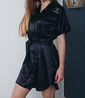 Атласный халат черного цвета, фото 1
