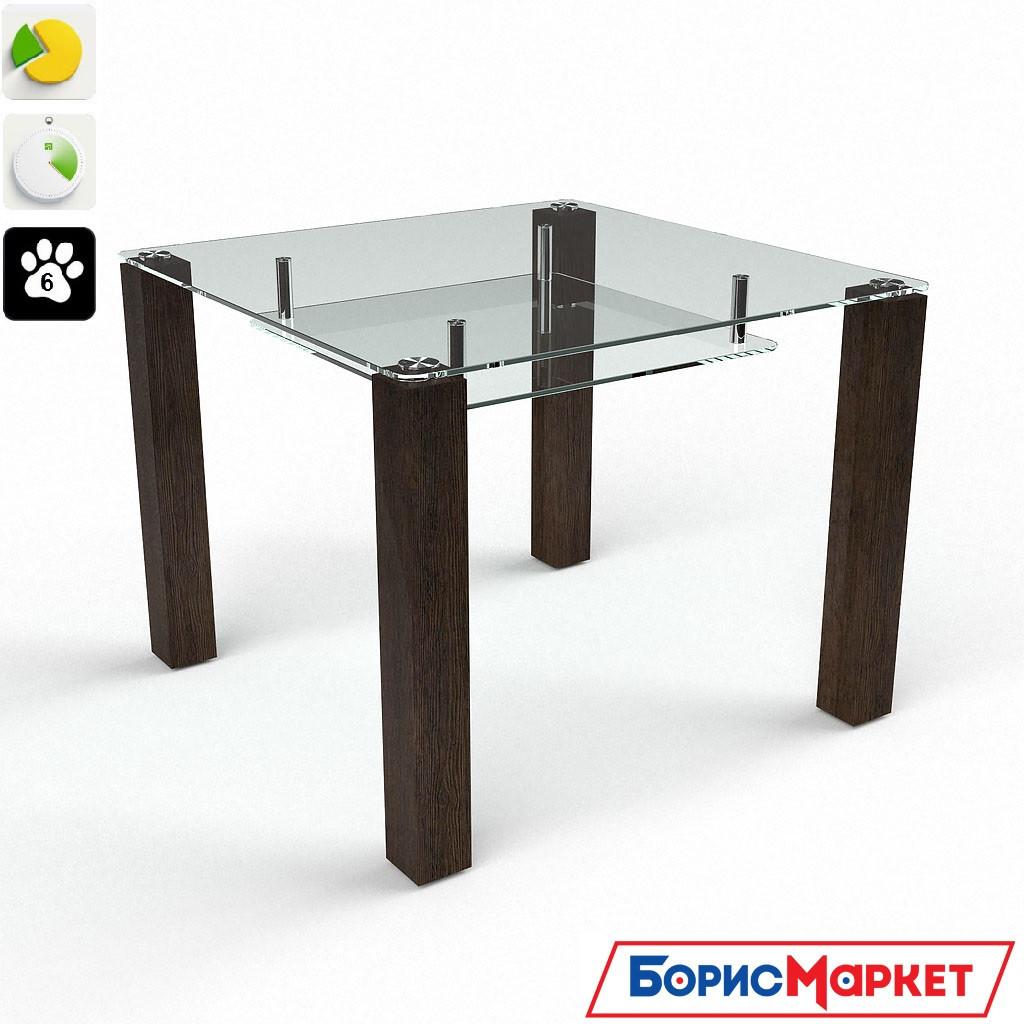 Обеденный стол стеклянный Квадратный прозрачный с полкой от БЦ-Стол